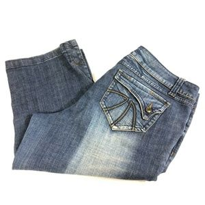 Venezia Lane Bryanted cropped denim wide leg jeans